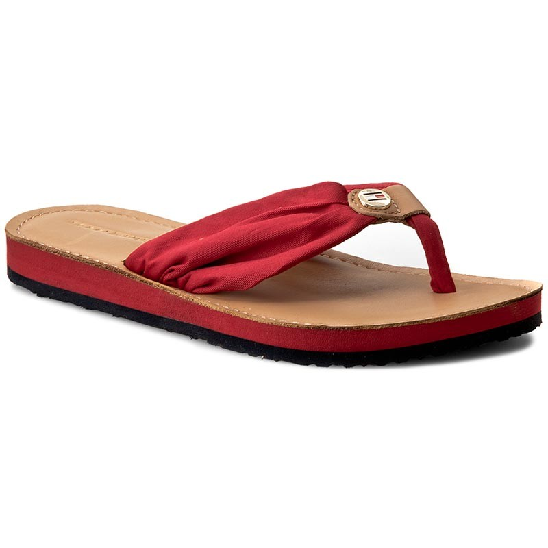 Zehentrenner TOMMY HILFIGER-Leather Footbed Beach Sandal FW0FW00475  Tango Red 611