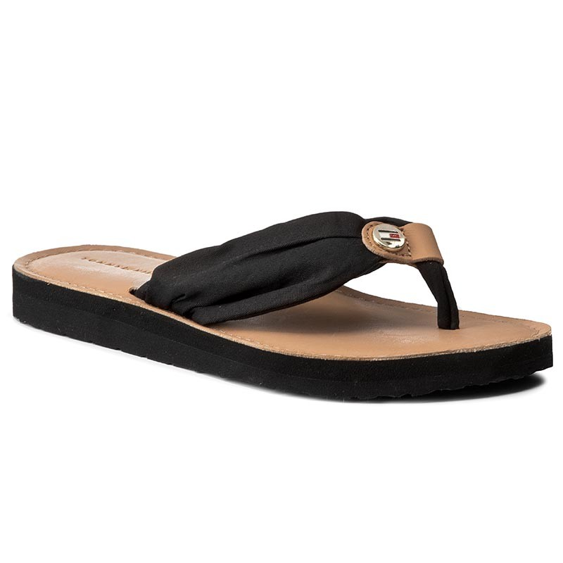 Zehentrenner TOMMY HILFIGER-Leather Footbed Beach Sandal FW0FW00475 Black 990