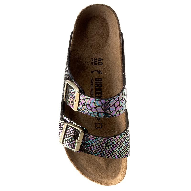 Pantoletten BIRKENSTOCK-Arizona 1003463 Shiny Snake Black Multicolor