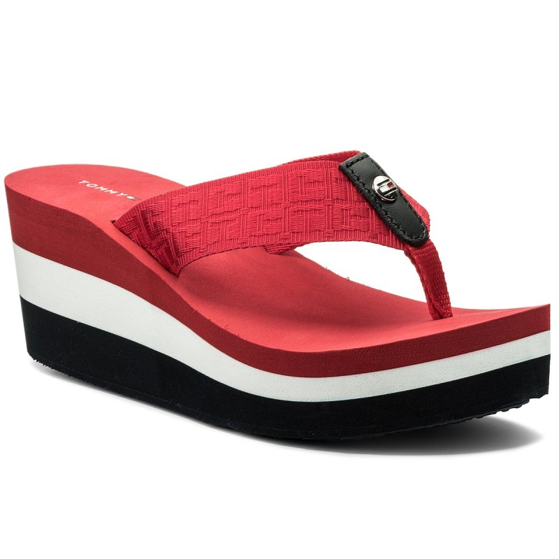 Zehentrenner TOMMY HILFIGER-Jacquard Mid Beach Sandal FW0FW02383 Tango Red 611