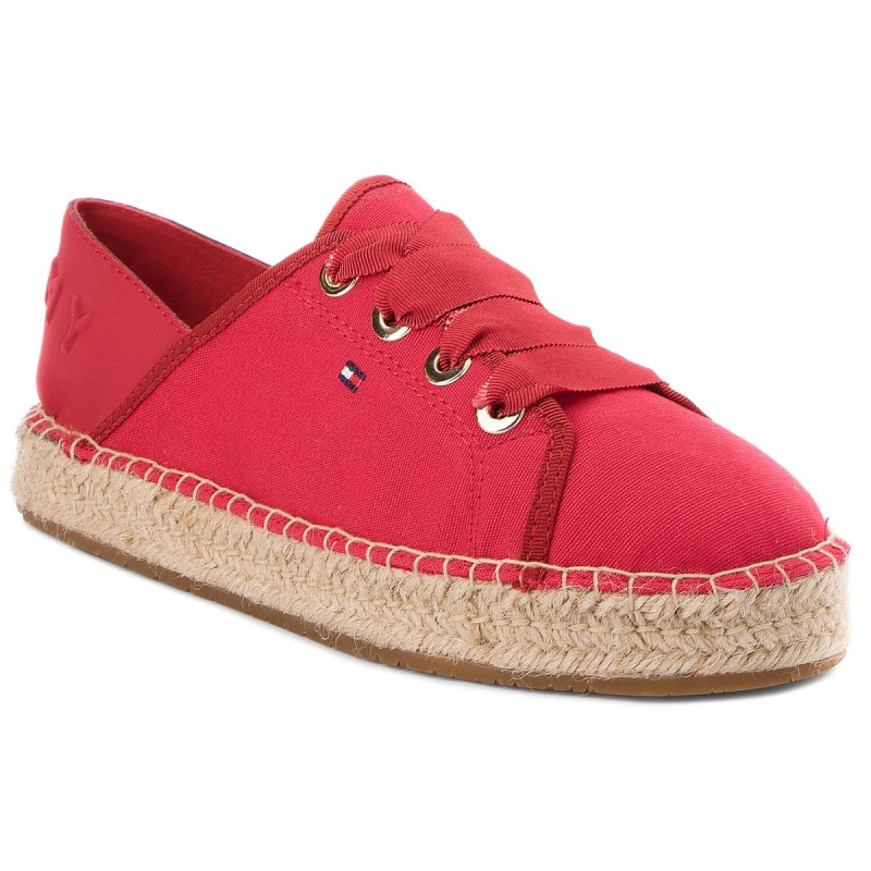 Espadrilles TOMMY HILFIGER-Th Metallic Lace Up Espadrille FW0FW02218 Tango Red 611