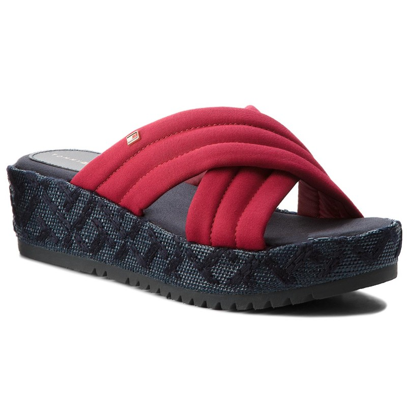 Pantoletten TOMMY HILFIGER-Th Pattern Flatform FW0FW02785 Scooter Red 614