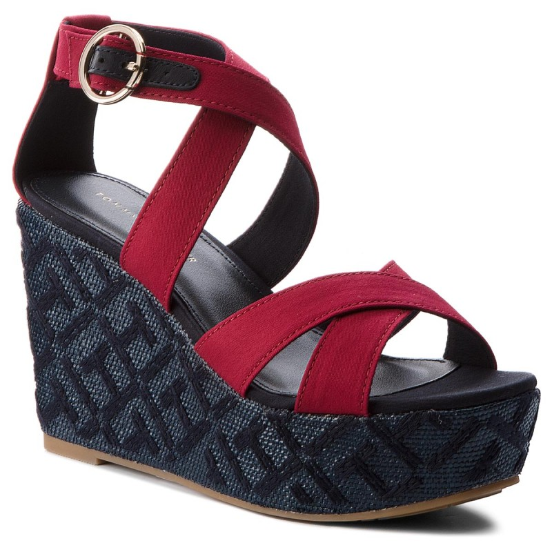 Sandalen TOMMY HILFIGER-Th Pattern Wedge Sandal FW0FW02800 Scooter Red 614