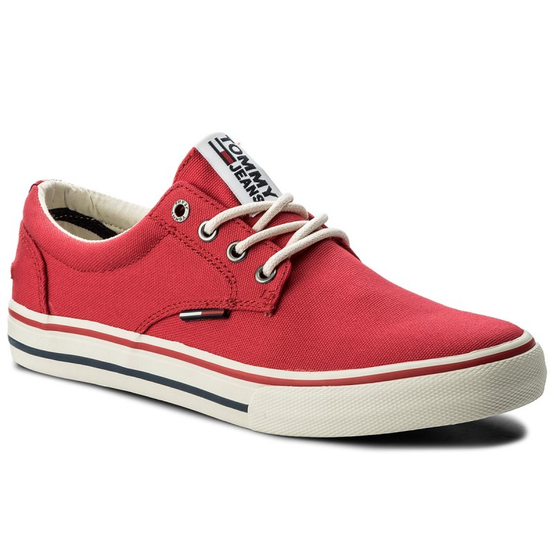Turnschuhe TOMMY JEANS-Textile Sneaker EM0EM00001 Tango Red 611
