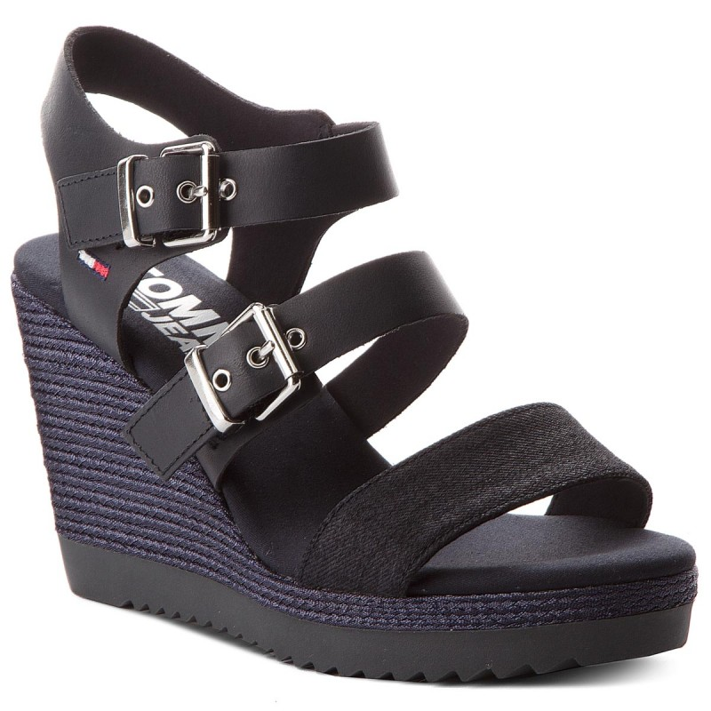 Sandalen TOMMY JEANS-Denim Strappy Wedge Sandal EN0EN00195 Midnight 403