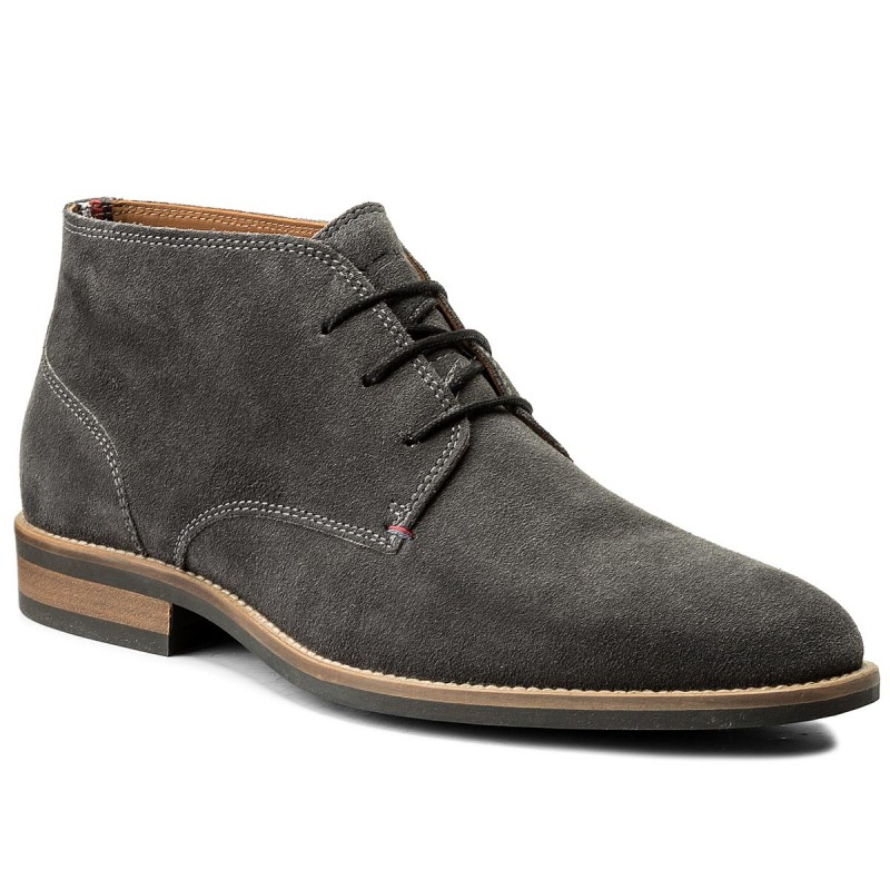 Schnürschuhe TOMMY HILFIGER-Essential Suede Boot FM0FM00252 Charcoal 007