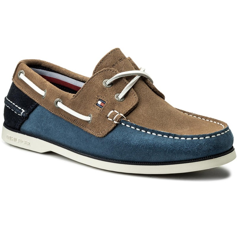 Mokassins TOMMY HILFIGER-Classic Suede Boatshoe FM0FM00587 Jeans/Taupe/Midnight 902
