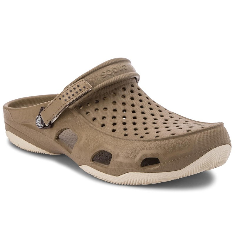 Pantoletten CROCS-Swiftwater Deck Clog M 203981 Khaki/Stucco