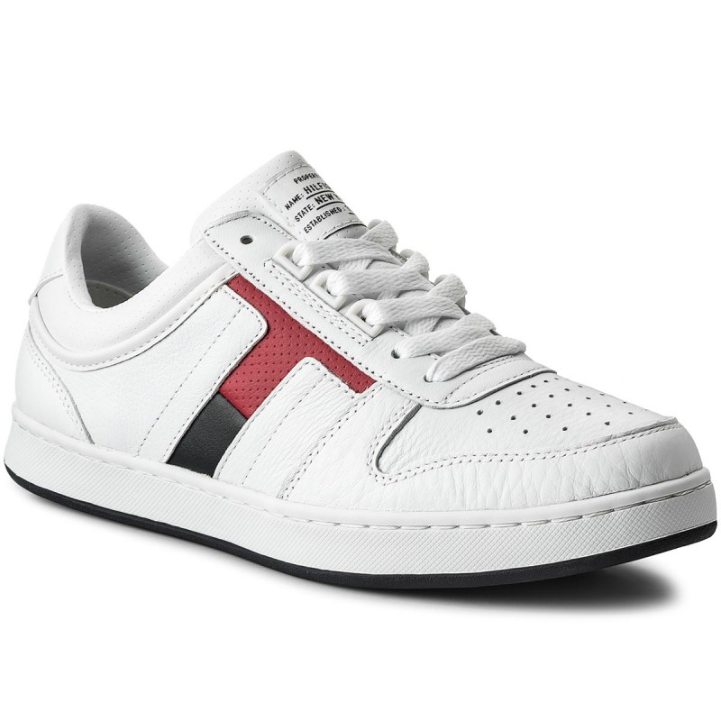 Sneakers TOMMY HILFIGER-Retro Corporate Leather Sneaker FM0FM01334 White 100