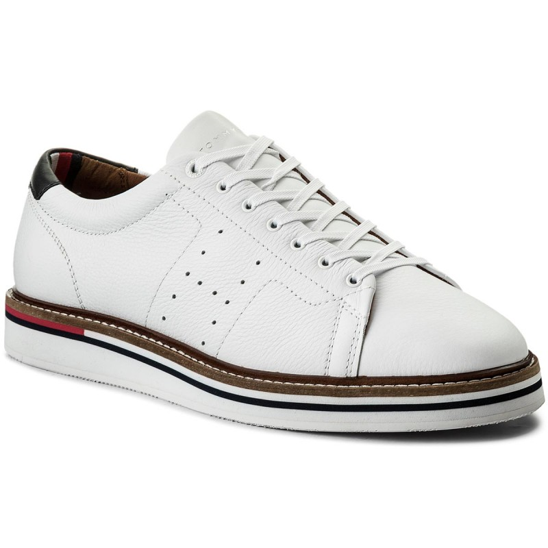 Sneakers TOMMY HILFIGER-Hybrid Leather Long Lace Shoe FM0FM01337 White 100