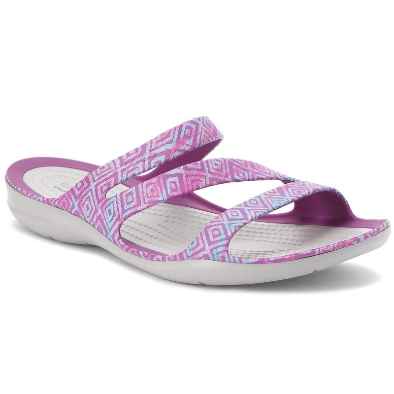 Pantoletten CROCS-Swiftwater Graphic Sandal W 204461 Amethyst Diamond/Light Grey