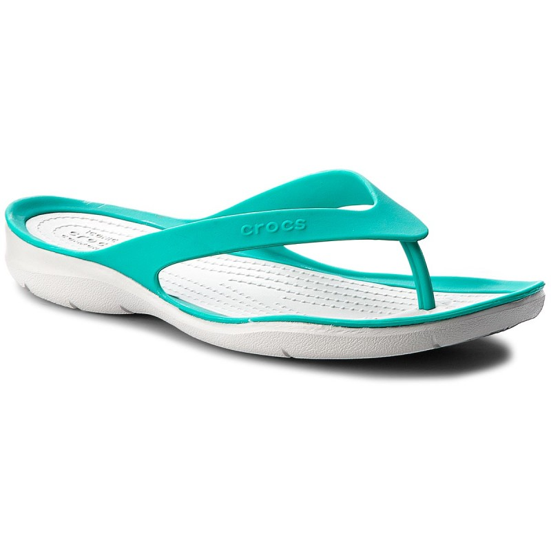 Zehentrenner CROCS-Swiftwater Flip W 204974 Tropical Teal/Pearl White