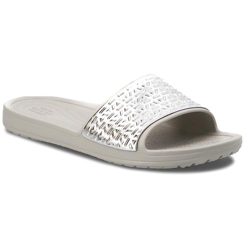 Pantoletten CROCS-Sloane Graphic Etched Slide W 205130  Pearl White/Silver