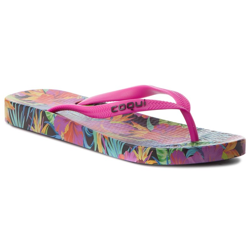 Zehentrenner COQUI-Kaja 1327 Jungle Flowers/Fuchsia
