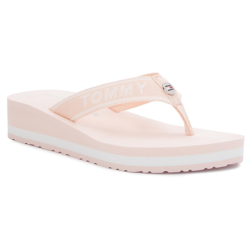 Zehentrenner TOMMY HILFIGER-Tommy Branding Beach Sandal FW0FW02953 Silver Peony 642