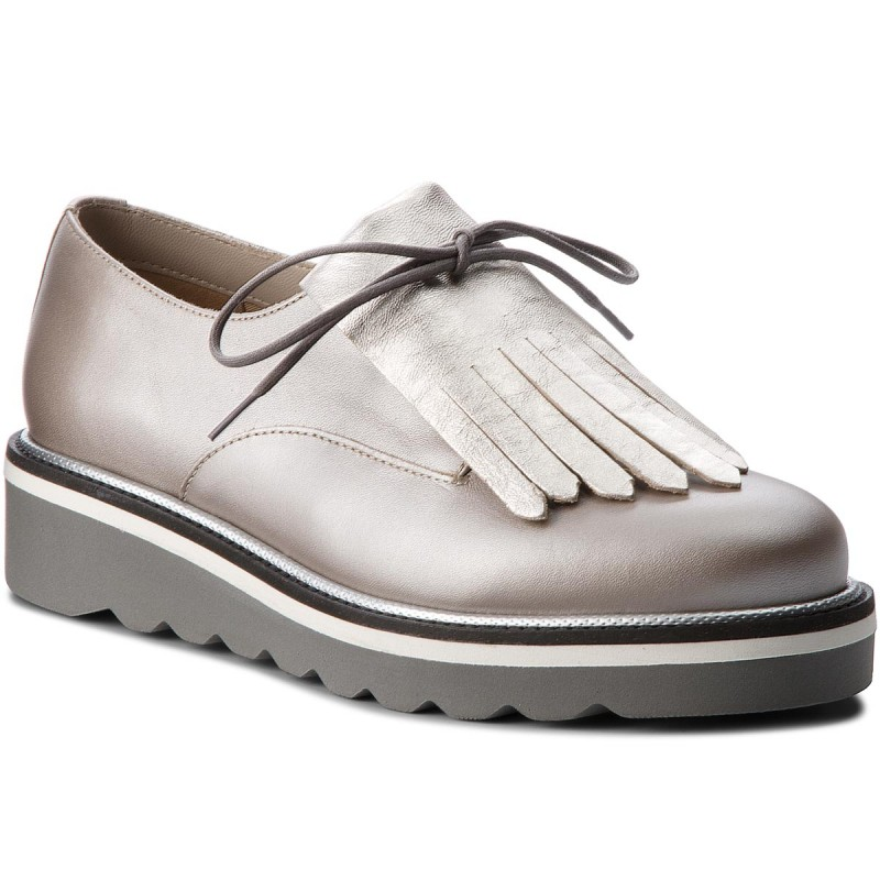 Oxfords TOMMY HILFIGER-Pearlized Leather Lace Up Shoe FW0FW02937 Moonbeam 009