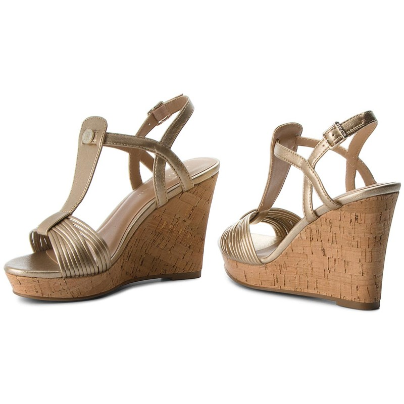 Sandalen TOMMY HILFIGER-Refined Strappy Wedge Sandal FW0FW03369 Light Gold 708