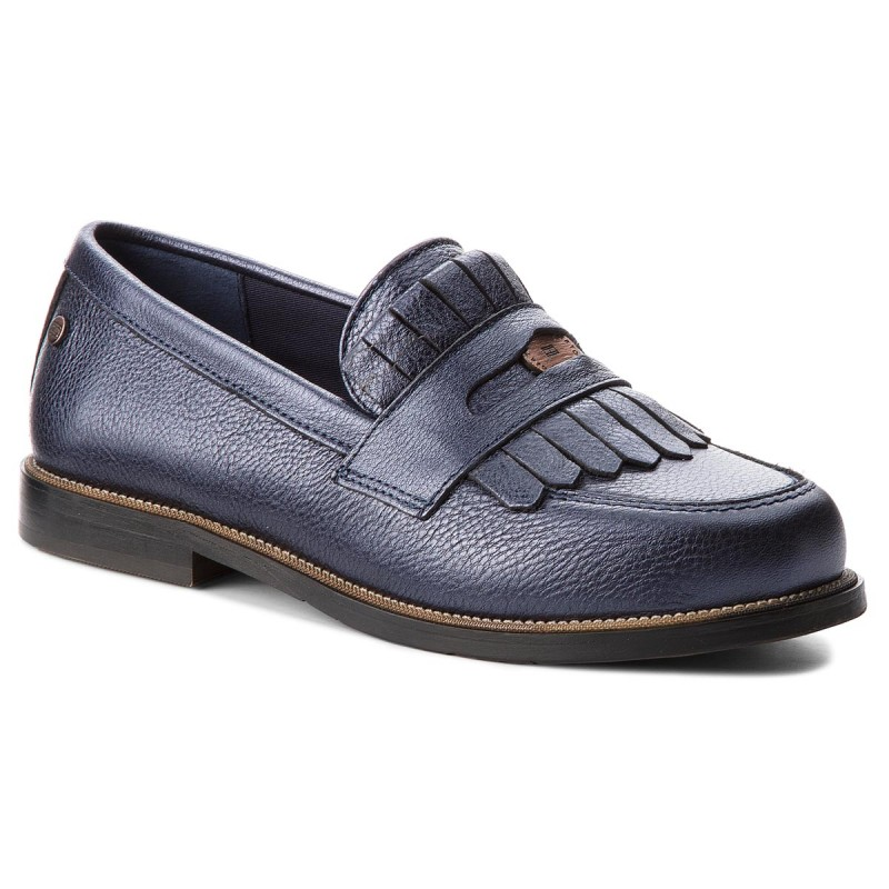 Halbschuhe TOMMY HILFIGER-Metallic Leather Penny Loafer FW0FW03402  Tommy Navy 406