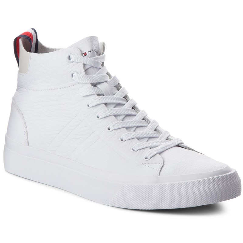 Sneakers TOMMY HILFIGER-Unlined Mid Cut Leather Sneaker FM0FM01626 White 100
