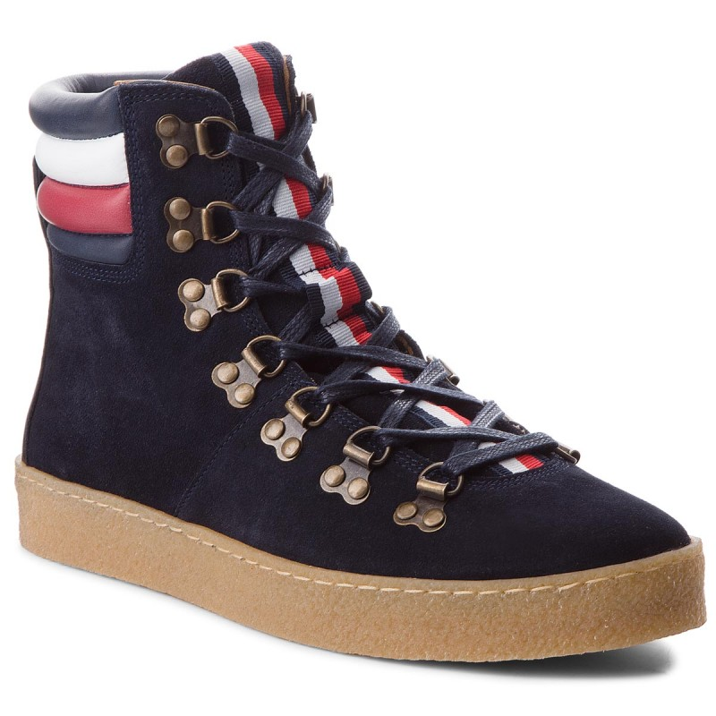 Stiefel TOMMY HILFIGER-Crepe Outsole Hiking Hybrid Boot FM0FM01918  Midnight 403