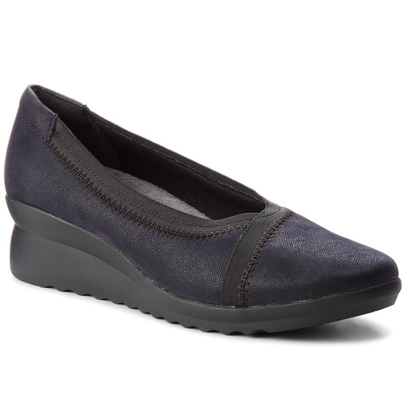 Halbschuhe CLARKS-Caddell Dash 261320234 Navy Synthetic