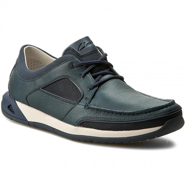 Halbschuhe CLARKS-Ormand Sail 261246117 Navy Leather
