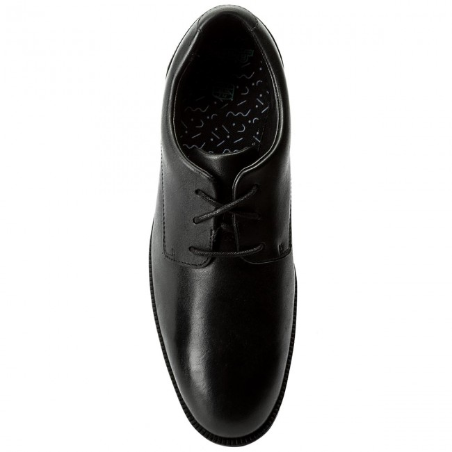 Halbschuhe CLARKS-Rufus Leather Edge Bl 261268366 Black Leather CLARKS-Rufus 9160fc