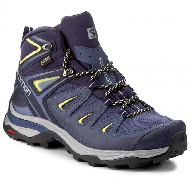 Trekkingschuhe SALOMON                                                    X Ultra 3 Mid Gtx W GORE-TEX 398691 22 V0 Crown Blau/Evening Blau/Sunny Lime
