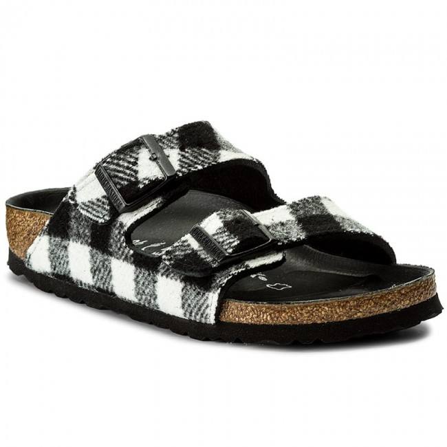 Pantoletten BIRKENSTOCK Arizona 1001217 Check Black/White