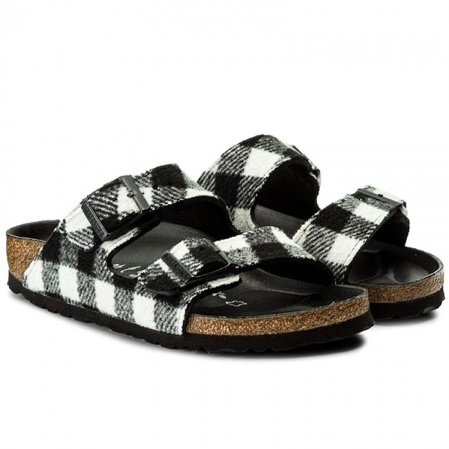 Pantoletten BIRKENSTOCK                                                      Arizona 1001217 Check Black/White d99f39