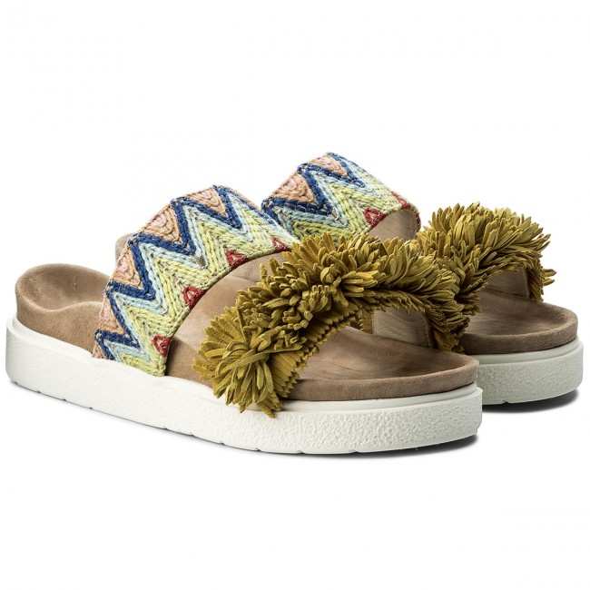 Pantoletten INUIKII Raffia Colored Colored Raffia 3020 Yellow 9d97ee
