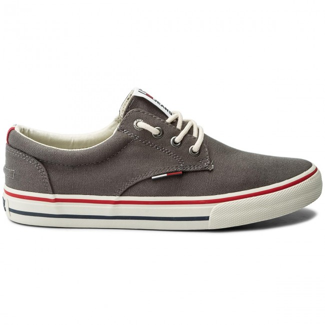 Turnschuhe TOMMY JEANS-Textile Steel Sneaker EM0EM00001 Steel JEANS-Textile Grey 039 a24f3f