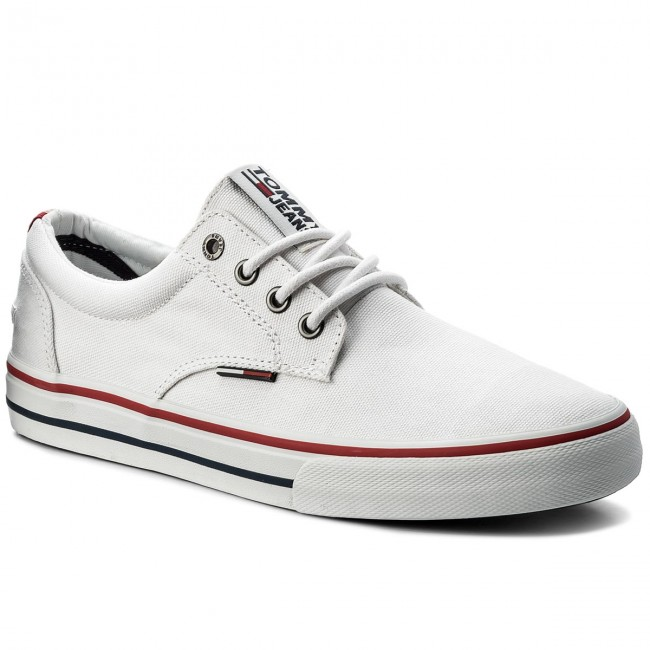 Turnschuhe TOMMY JEANS-Textile Sneaker EM0EM00001 White 100