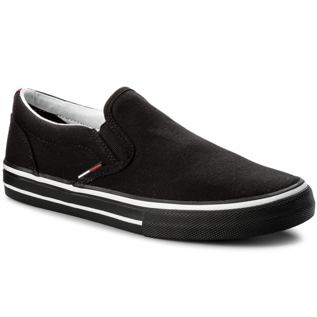 Turnschuhe TOMMY JEANS-Textile Slip On EM0EM00002 Black 990