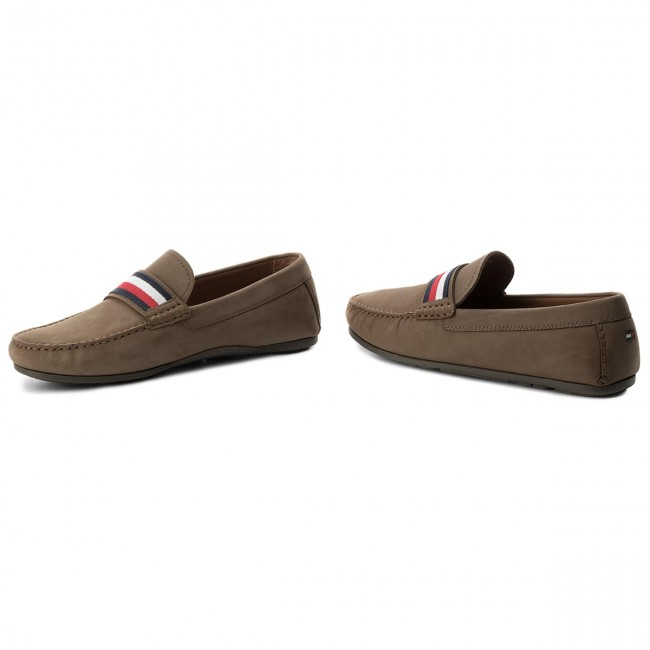 Mokassins TOMMY Loafer HILFIGER-Corporate Tape Loafer TOMMY FM0FM01247 Shitake 012 3b4e97