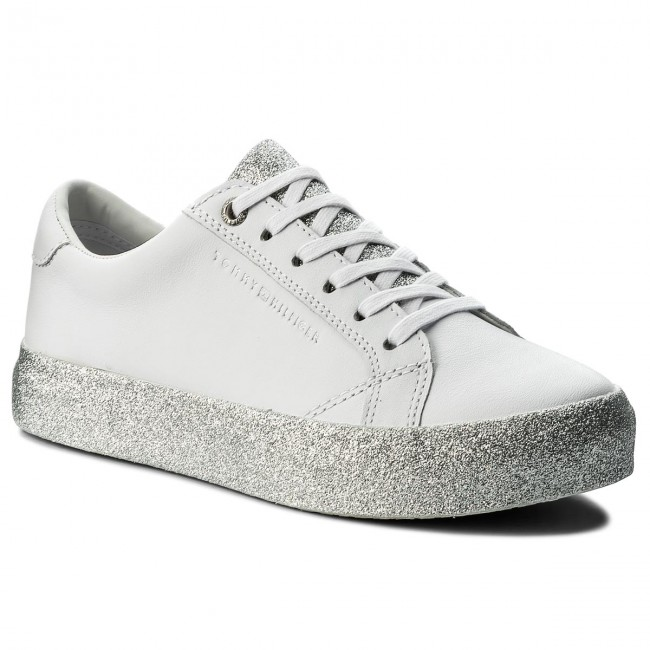 Sneakers TOMMY HILFIGER-Sparkle 907 Outsole Glitter Sneaker FW0FW02798  White/Silver 907 HILFIGER-Sparkle Werbe Schuhe 4fb7d0