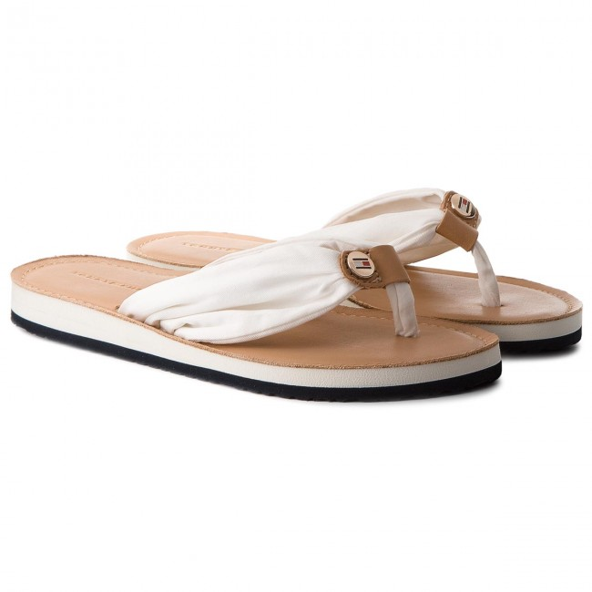 Zehentrenner TOMMY HILFIGER - Leather Footbed Beach Sandal FW0FW00475 Whisper White 121