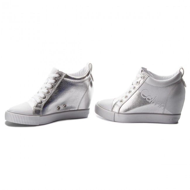 Sneakers Silver/White CALVIN KLEIN JEANS Rory R0646 Silver/White Sneakers 5c2956