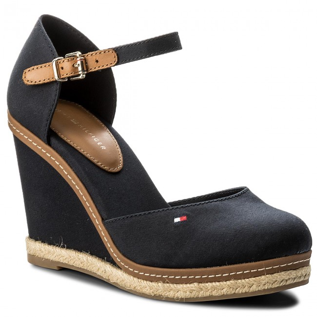 Espadrilles TOMMY HILFIGER-Iconic Basic Closed Toe Wedge FW0FW02791 Midnight 403 Werbe Schuhe