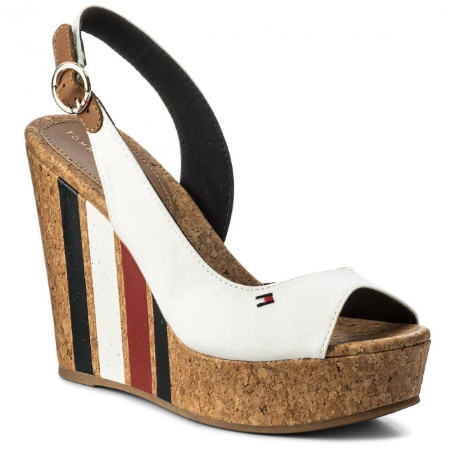Sandalen TOMMY HILFIGER-Wedge With Printed Stripes FW0FW02794 Wisper Wite 121 Werbe Schuhe