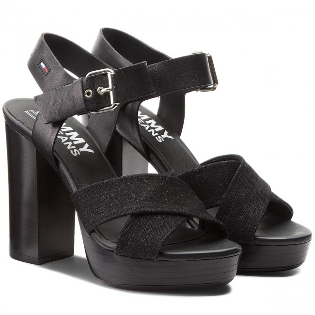 Sandalen High TOMMY JEANS  Denim Sandal High Sandalen Heel EN0EN00105 Black 990 c8aebf