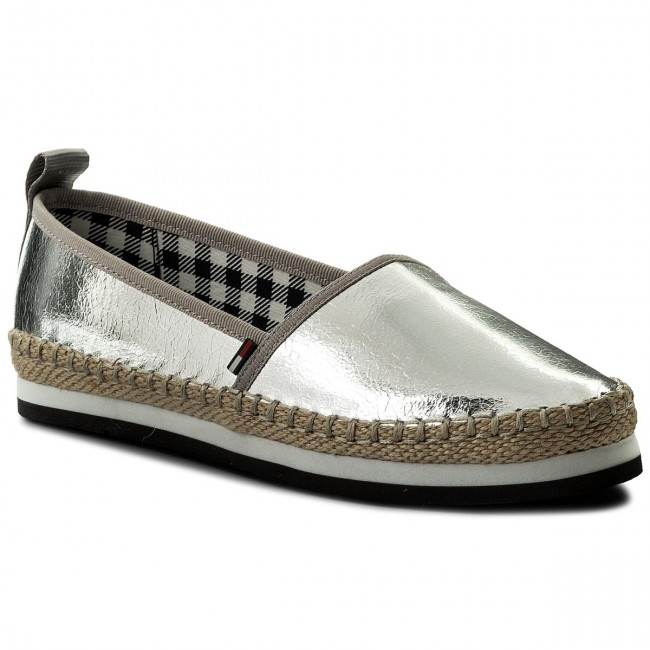 Espadrilles On TOMMY JEANS-Sporty Metallic Slip On Espadrilles EN0EN00203 Silver 000 Werbe Schuhe 013f17