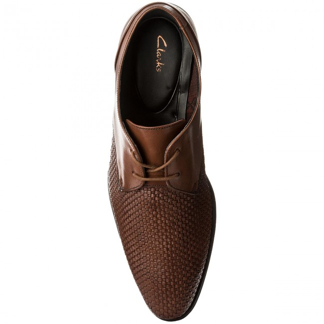 Halbschuhe CLARKS-Bampton Weave 261321847  Tan Leather