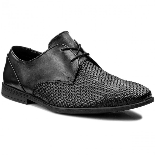 Halbschuhe CLARKS-Bampton Weave 261321957 Black Leather