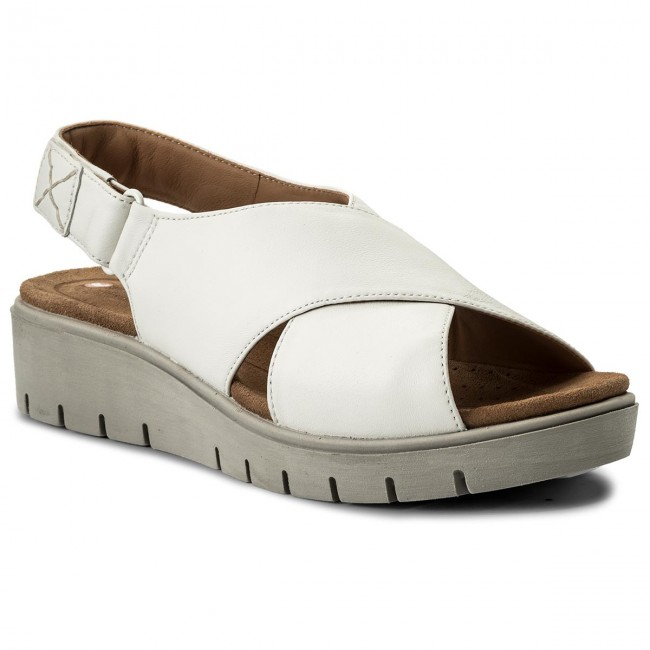 Sandalen CLARKS-Un Kerely Hail 261322354 White Leather Werbe Schuhe