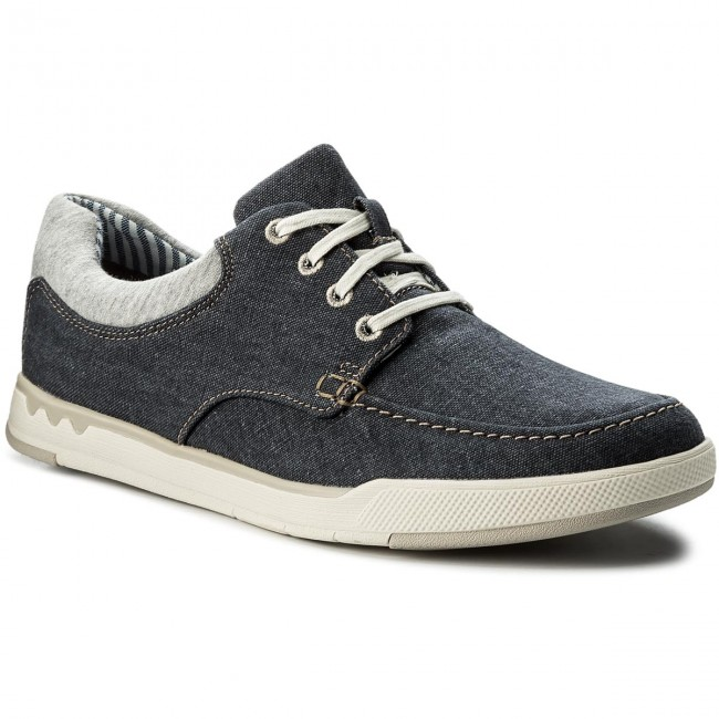 Halbschuhe CLARKS-Step Isle Lace 261327647  Navy Canvas