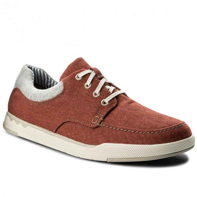 Halbschuhe CLARKS-Step Isle Lace 261327677 Rust Canvas