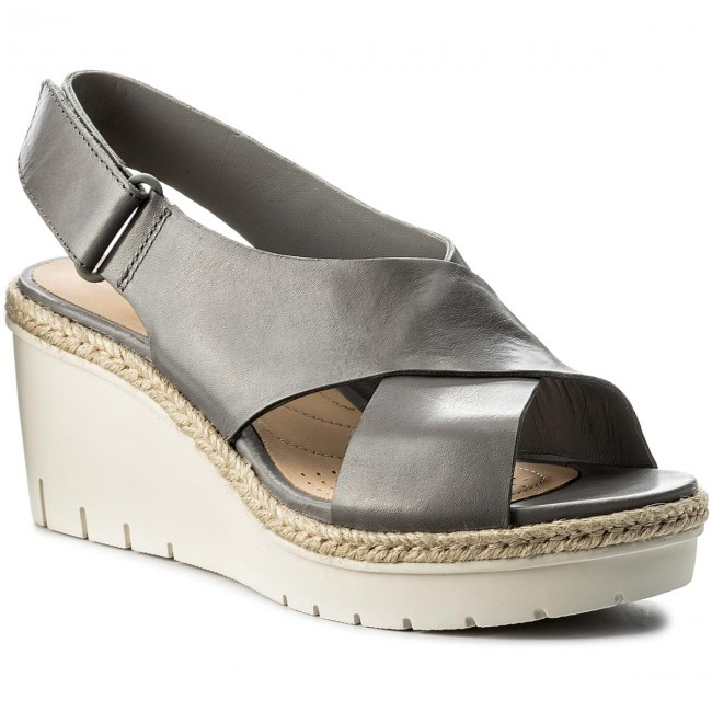 Espadrilles CLARKS - Palm Glow 261338394 Grey Leather cLZcJSN3