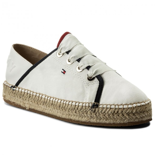 Espadrilles TOMMY Espadrille HILFIGER-Th Metallic Lace Up Espadrille TOMMY FW0FW02218 Whisper White 121 Werbe Schuhe c4dc4a