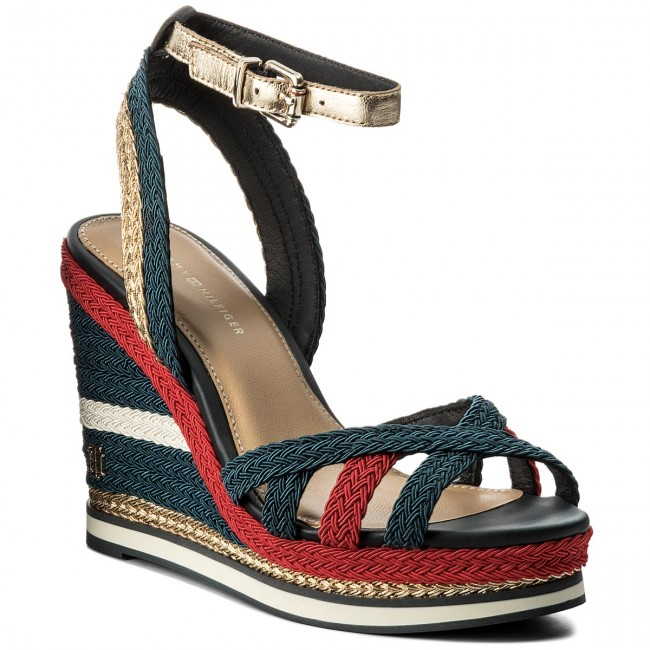 Sandalen TOMMY HILFIGER-Corporate Rbw Wedge Sandal Sporty FW0FW02396 Rbw HILFIGER-Corporate 020 Werbe Schuhe 77480e